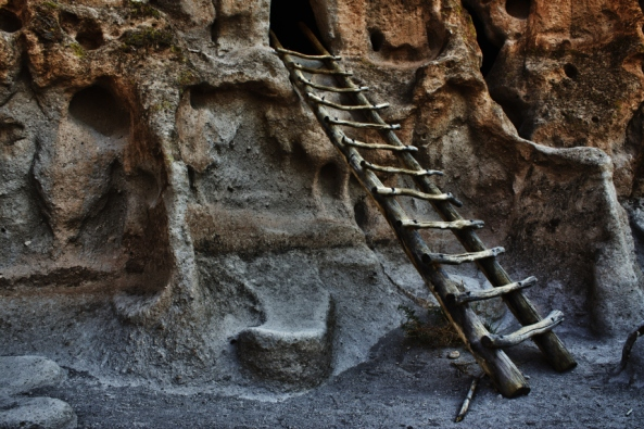Photo Of Ladder At Cliff Dwellings At Bandelier National Monument